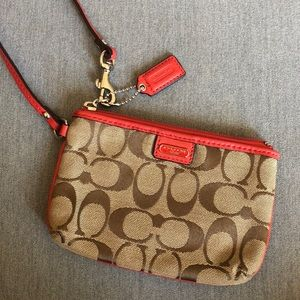 Coach - red and brown wristlet